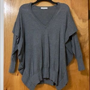 Zara Gray V-Neck Ruffled Sweater